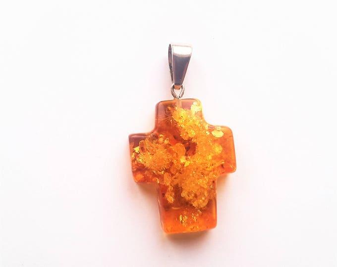 Handmade Baltic Amber Pendant Cross  5,5g