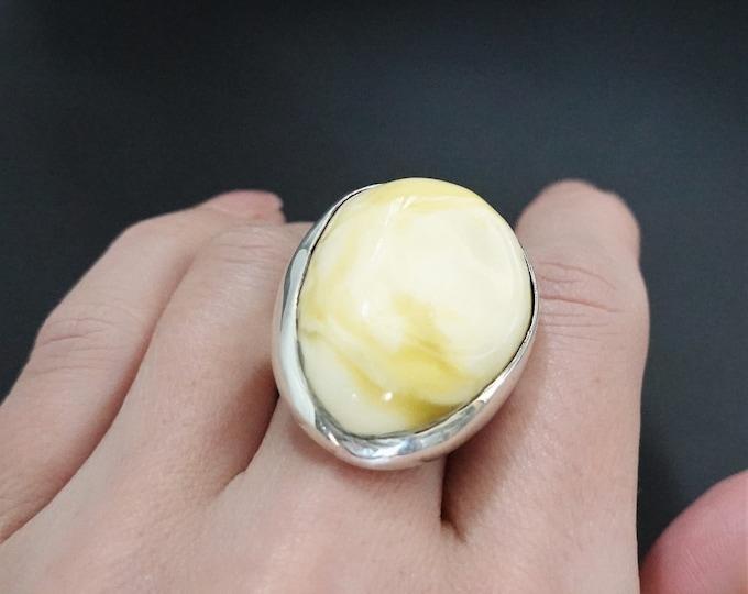 17g White Baltic Amber Ring, Adjustable Ring