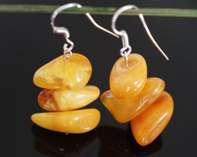 7,8g. Butterscotch  Baltic Amber Sterling Silver Earrings, Large Amber Earrings, Dangle