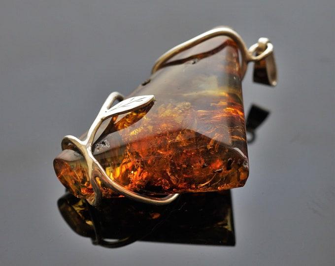 20g Genuine Baltic Amber Pendant, Natural Amber Pendant, Handmade Pendant