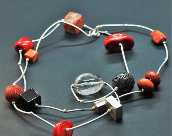 58,3g Handmade Sterling Silver Red Coral & Black Volcanic Lava,Red Volcanic Lava Necklace