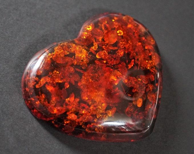 35,6g. Huge Baltic Amber Stone Heart, Cognac Baltic Amber, Large Genuine Amber Stone Heart