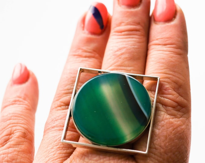 Handmade Sterling Silver Agate Green Ring 20g