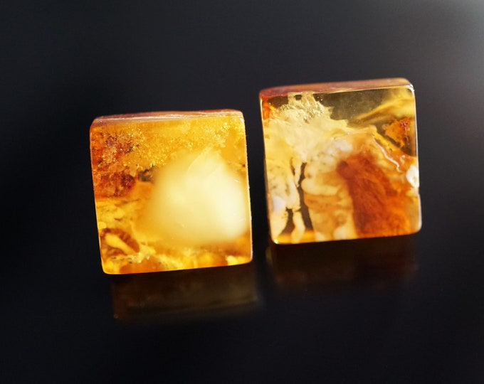 Butterscotch Yellow Natural Baltic Amber Stud Earrings, Square Earrings