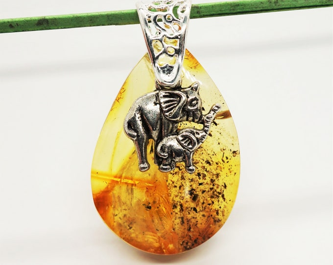 6,3g Natural Baltic Amber Pendant, Cognac Yellow  Amber Pendant
