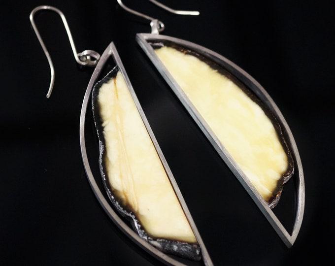 32,7g. Large Baltic Amber Sterling Silver Earrings, E. Salwierz Design Earrings, Modern Earrings