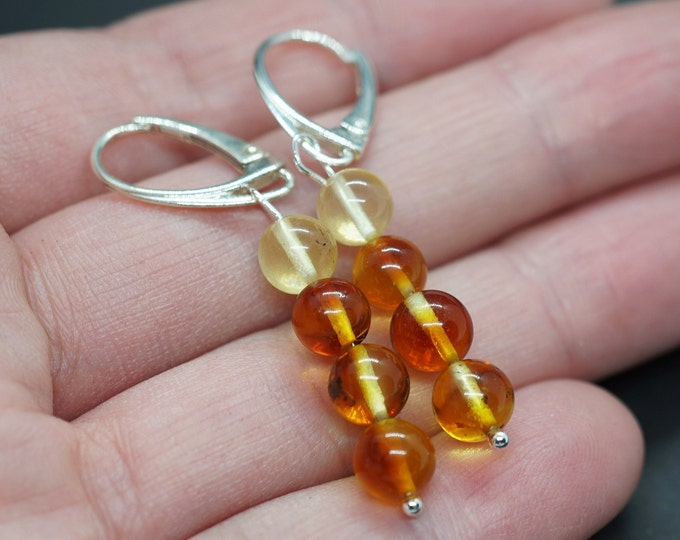 2,6g. Honey Baltic Amber Earrings, Natural Baltic Amber Earrings, Ball Amber Earrings
