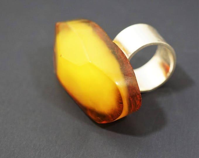 18.2 Large Baltic Amber Ring , Yellow Amber Ring