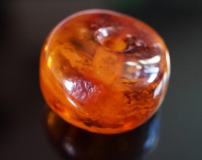 13g  Genuine Baltic Amber Donut Pendant, Honey Butterscotch  Amber, Amber Amulet, Large Amber