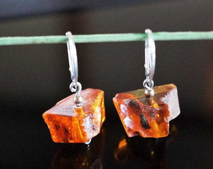 5,6g. Cognac Baltic Amber Sterling Silver Earrings