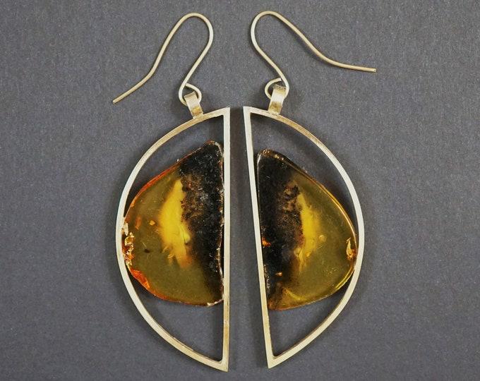24,8g. Large Baltic Amber Sterling Silver Earrings, E. Salwierz Design Earrings, Modern Earrings