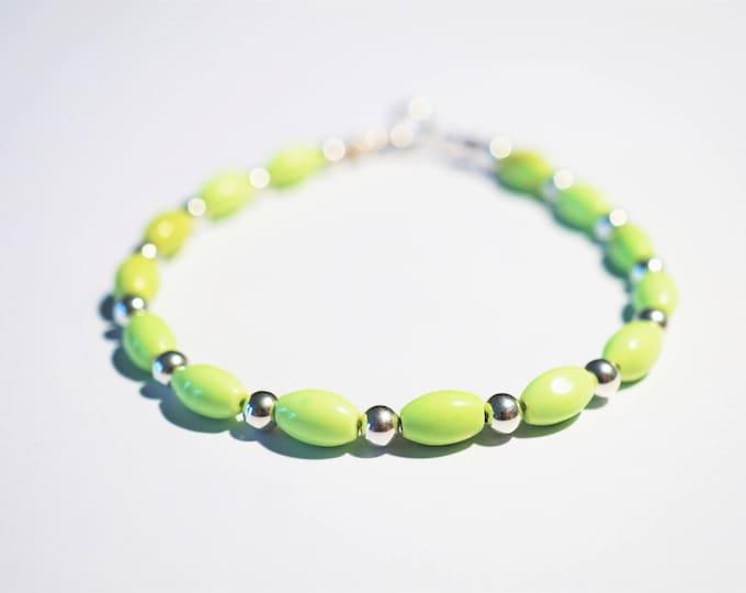 Handmade Sterling Silver Green Howlit Bracelet 6,6g