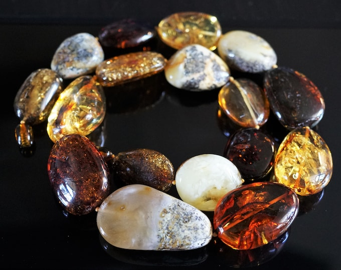 78g. Huge Natural Baltic Amber Bead Necklace, Multicolour Baltic Amber Necklace, Unique Baltic Amber Bead Necklace,Untreated Amber