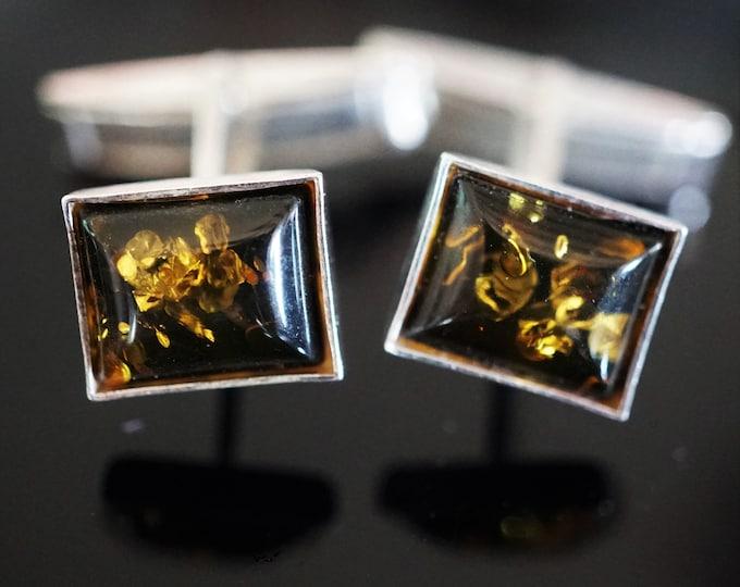 5g. Baltic Amber, Sterling Silver Cufflinks, Greenish Baltic Amber Cufflinks