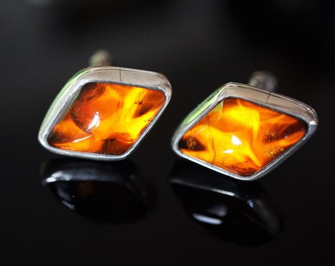 10,2g Cognac Amber Cufflinks, Baltic Amber Cufflinks, Men's Accessories