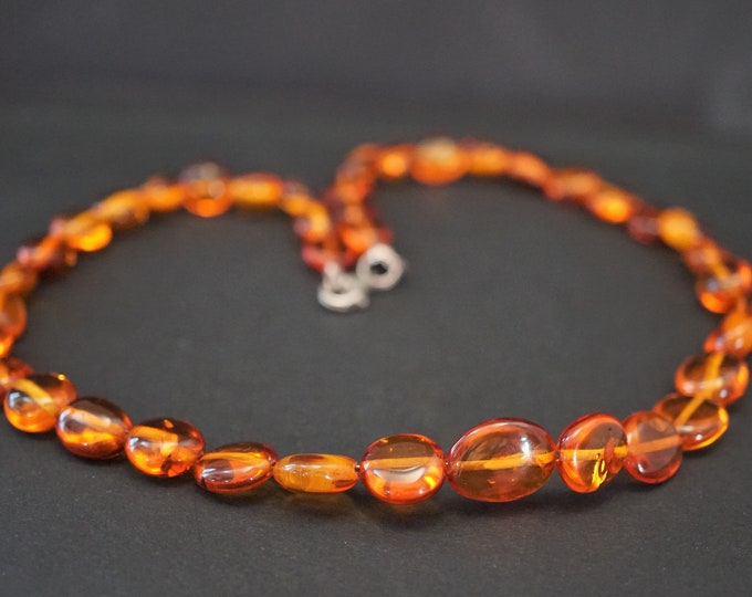 13g Natural Cognac Baltic Amber  Necklace, Not Pressed Amber