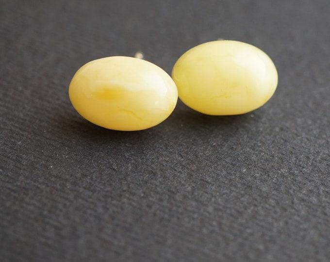 White Natural baltic amber stud earrings