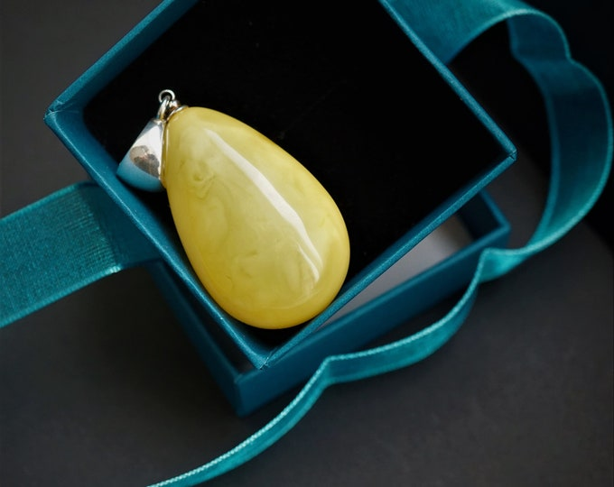 8,8g Natural White/Yellow Baltic Amber Pendant, Genuine, Untreated Amber, Not Modified Amber, Amber Drop Pendant