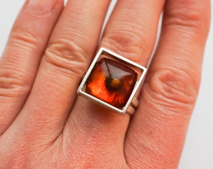 7g, Cherry Baltic Amber Ring, Cognac Amber Ring
