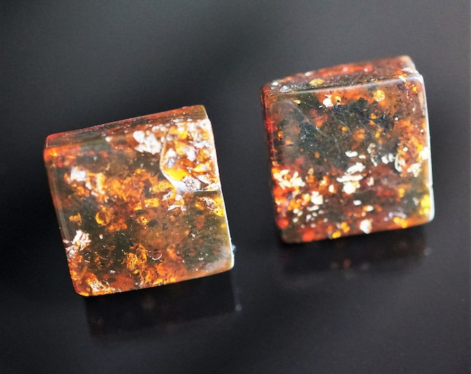 Cognac Natural Baltic Amber Stud Earrings, Square Earrings