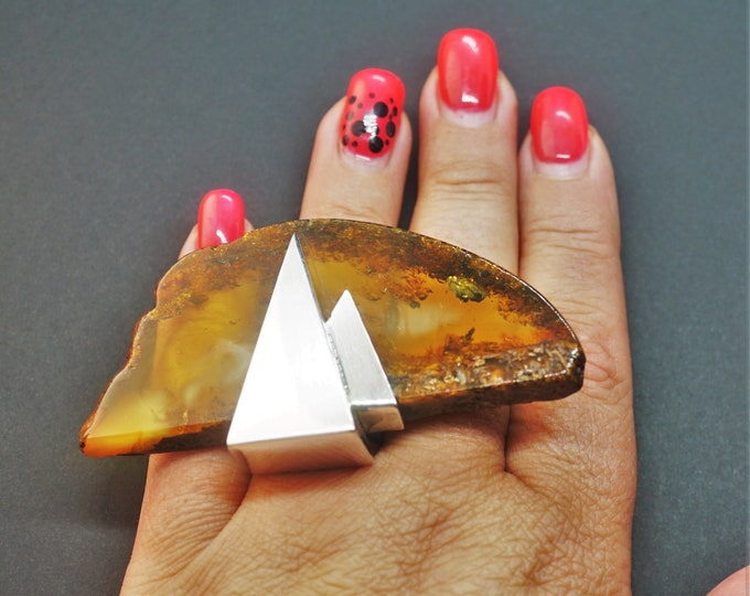 39,9g E. Salwierz  Baltic Amber Ring, Huge Ring, Artistic Jewellery, Cognac Amber Ring, Triangle, Triangular Ring
