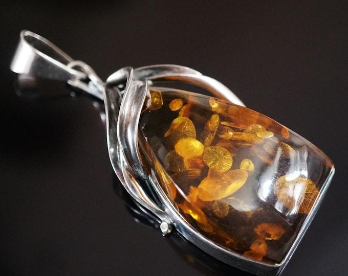 29g. Cognac/Green Amber Pendant, Sterling Silver