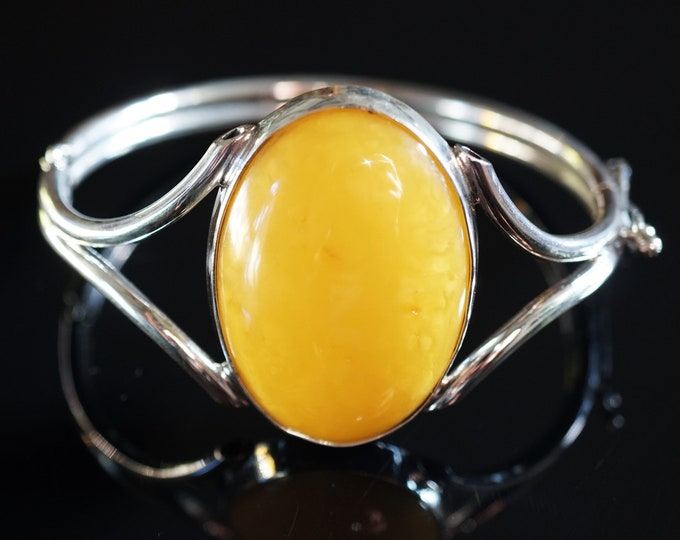 28,1g Genuine Baltic Amber Bracelet, Sterling Silver, Yellow/Butterscotch Amber Bracelet, Not Modified Amber