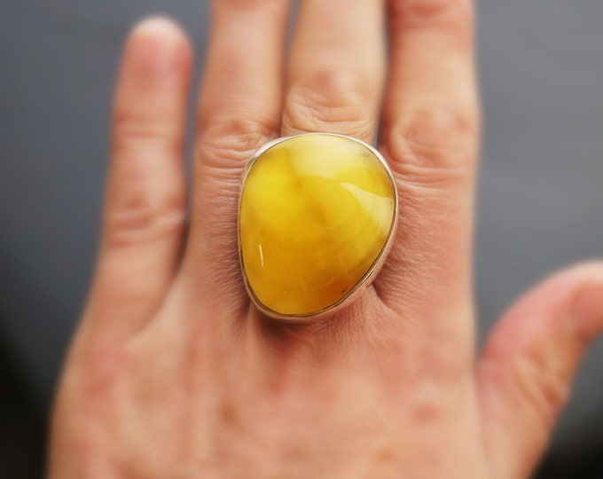 19g. Large Baltic Amber Ring, Butterscotch Amber Ring, Yellow Amber Ring,Natural Amber, Organic Amber Ring