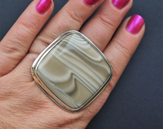 49,7g  Big Striped Flint Ring, Sterling Silver Ring, Oversized Ring