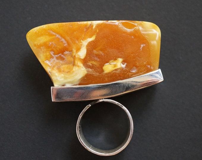 26.3g. Baltic Amber Ring, Honey Amber, Unisex Ring,Landscape Amber Ring, Egg Yolk Amber Ring, Large Amber Ring, Gift