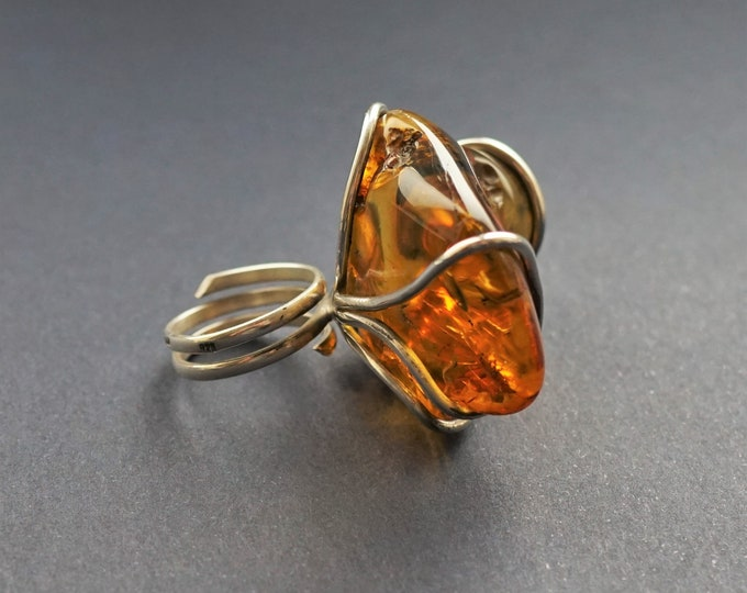 24,4g.Unique Baltic Amber Sterling Silver Ring