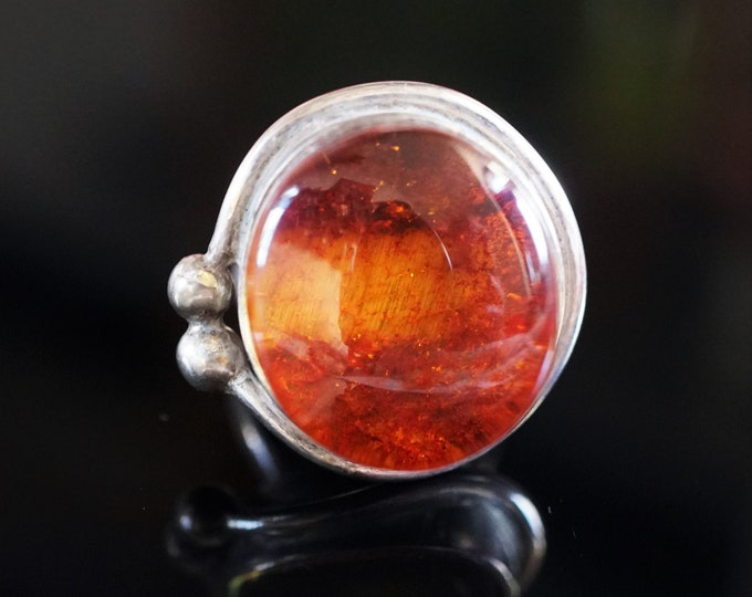 11g. Cognac Baltic Amber, Sterling Silver Ring