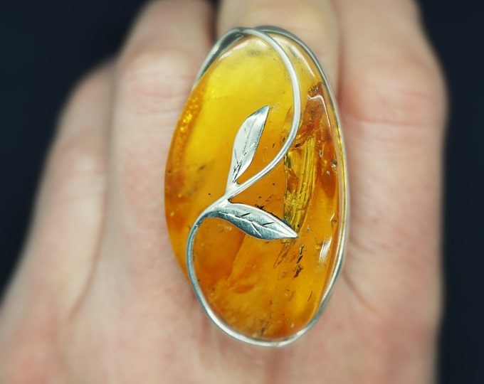 23g. Unique Baltic Amber Ring, Butterscotch Yellow Amber Ring, Genuine Amber, Handmade Ring