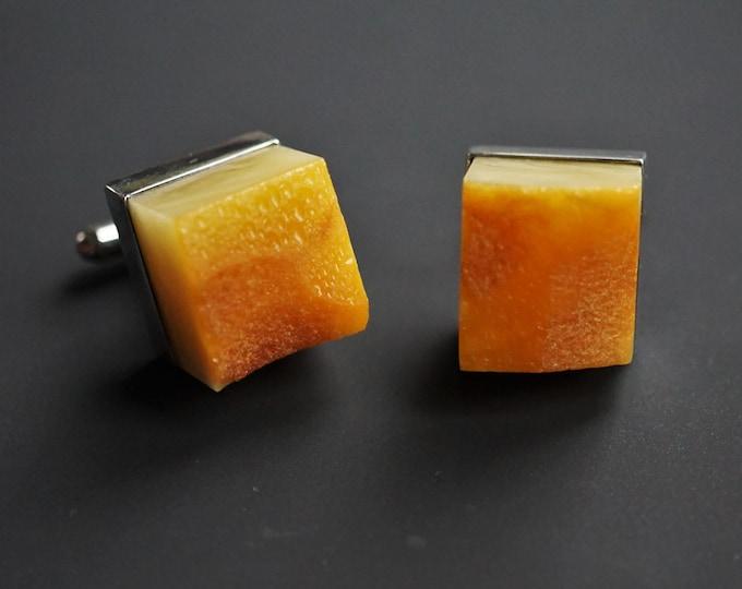 20.6g. Large Baltic Amber Cufflinks