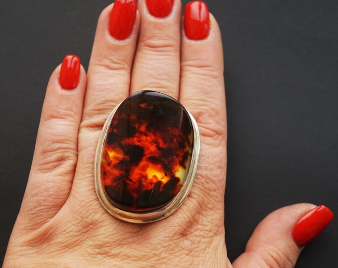 39,7g. Massive Unique Baltic Amber Ring, Huge Amber Ring, Genuine Amber, Sterling Silver, Posh Ring, Oversized Ring