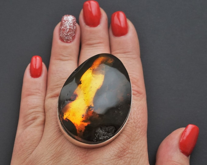 45,3g. Massive Unique Baltic Amber Ring, Huge Amber Ring, Genuine Amber, Sterling Silver, Posh Ring, Oversized Ring