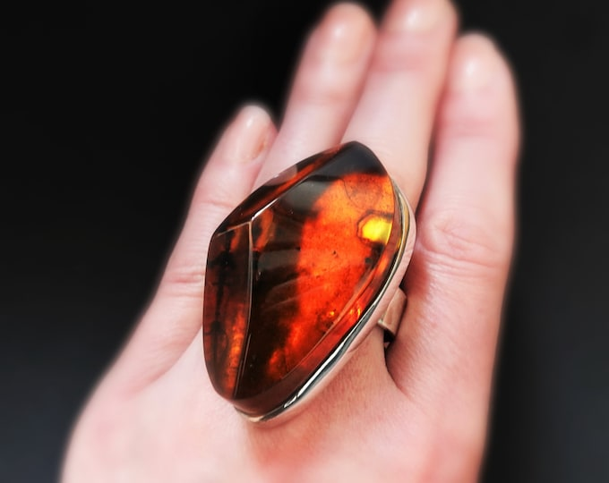 31,6g. Large Baltic Amber Sterling Silver Ring, Cognac Amber Ring, Oversized Ring, Genuine Baltic Amber