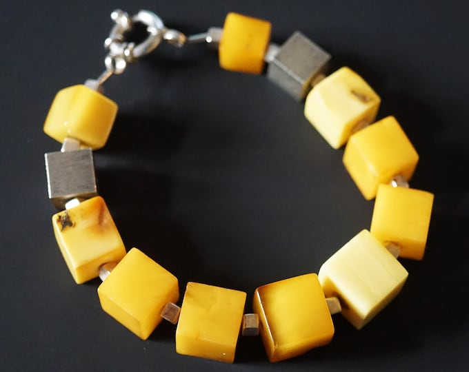 30g Natural Baltic Amber Bracelet, Genuine Amber, Not Modified Amber, Cube Amber Bracelet.