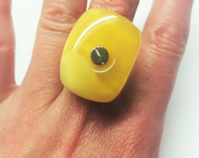 Handmade Silver Baltic White Amber Ring, 14g
