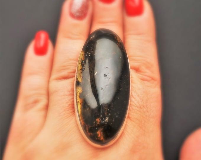 33,6g. Dark Baltic Amber Ring, Big Bold Amber Ring, Genuine Amber Ring, Oversized Ring, Dark Cognac Amber Ring