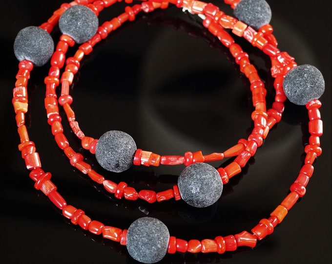 Long Red Coral & Black Volcanic Lava Necklace