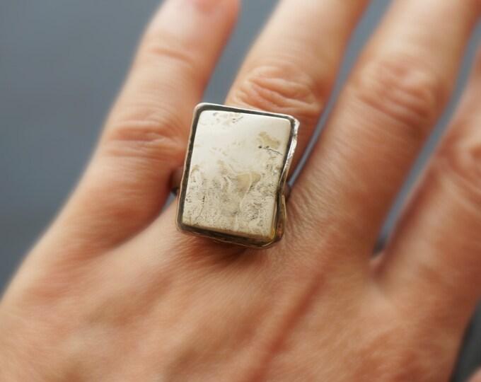 6,5g Royal White Baltic Amber Ring, Vintage Amber Ring, Genuine Amber