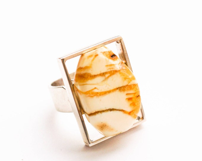 11g, White/Yellow Baltic Amber Ring, Sterling Silver