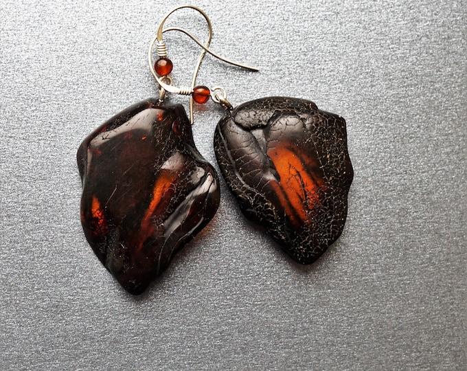 11,1g. Cherry Baltic AMber Earrings, Dangle Amber Earrings, Genuine Amber