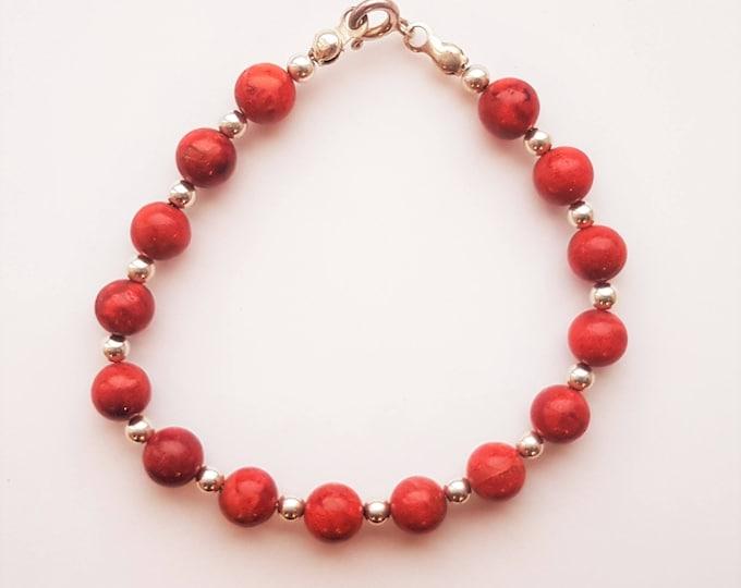 Handmade Sterling Silver Red Coral Bracelet