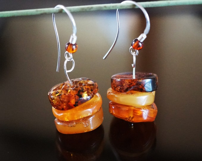 6g. Cognac Baltic Amber Sterling Silver Earrings, Disc Baltic Amber Earrings
