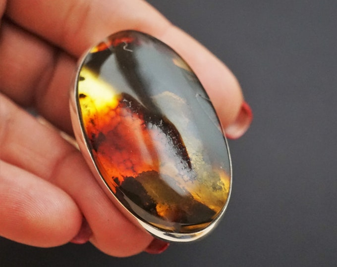 26,8g. Huge Baltic Amber Sterling Silver Ring, Oversized Ring, Yellow/Cognac Amber Ring