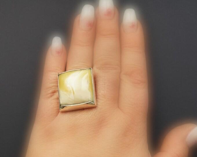 21.7g. White Baltic Amber Ring, Royal White Amber, Genuine Amber