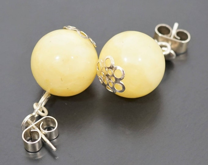 Handmade Baltic Amber Stud Earrings 7g