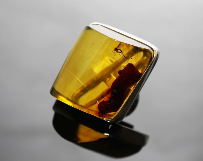 37g. Huge Inclusion Baltic Amber Sterling Silver Ring, Oversized Ring, Yellow Amber Ring